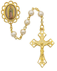 GUADALUPE GLASS PEARL ROSARY WITH GOLD PLATING 7MM 854HF