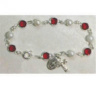 RED & PEARL AUSTRIAN CRYSTAL STONES ADULT ROSARY BRACELET BR230