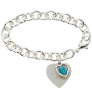 SILVER PLATED ADULT BRACELET WITH ENAMELED MIRACULOUS MEDAL & HEART BR267