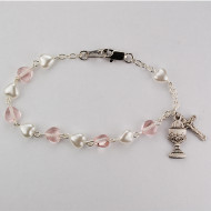 WHITE PEARL & PINK CRYSTAL HEART BRACELET BR446LW