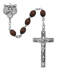 BROWN WOOD ROSARY 4X6MM R376SF