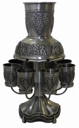"""Fruit Of The Vine"" Motif Pewter Fountain And Cups"