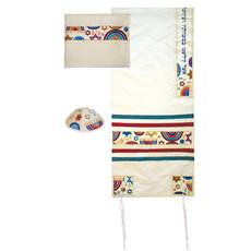 Multicolor Stars and Menorahs Tallit Set