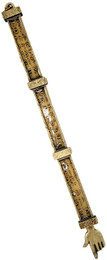 Old Hebrew Text Pewter and Enamel Torah Pointer - FOR LEFT HANDED