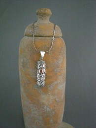 Sterling Silver Mezuzah Necklace with Rose Gold Accent
