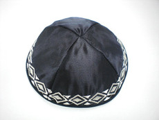 Satin Geometric Border  Kippah - Black