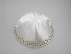 Satin Band of Stars Kippah - White mcbs2