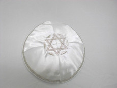 Satin Agam Star Kippah - White