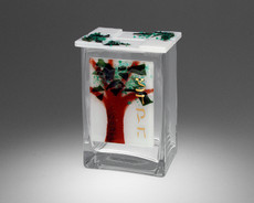 Beames Designs Fused Glass Tree of Life Tzedakah Box