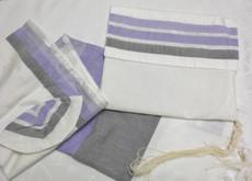 Gabrieli Silk White Background with Varigated Purple Tallit Set