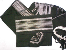Gabrieli Silk Black and Silver Tallit Set