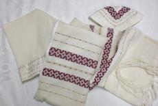 Gabrieli Maroon and Gold Wool Tallit Set
