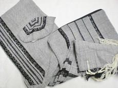 Gabrieli Wool Talit Set with Grey Background