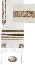 Gold Stars Of David Raw Silk Embroidered Tallit Set