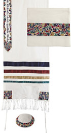 Multicolor Stars Of David Embroidered Raw Silk Tallit Set