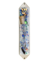 White Celestial Wedding Mezuzah