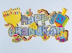 """3-D """"Happy Chanukah"""" Glitter and Foil Accented Decoration"""