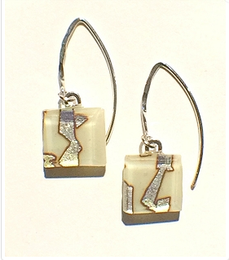 Cream Fused Glass Small Angled Wire Earrings by Sara Fern