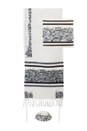 Jerusalem Design Tallit Set in Black