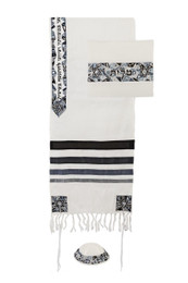 Black,Gray and Silver Star of David Design Tallit Set