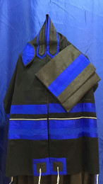 Michal Black Background Tallit Set With Blue and Silver Stripes