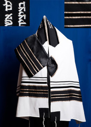 Michal Black Stripe and Champagne Stripe Tallit Set