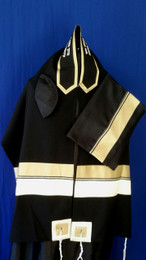 Michal Black Background Tallit Set With Gold & Silver Stripes