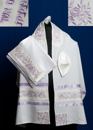 Michal Brushed Cotton Floral Tallit Set - Lavender