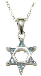Sterling Silver and Light Blue Stones Star of David Necklace