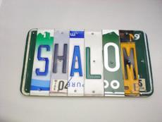 """Shalom"" License Plate Sign"