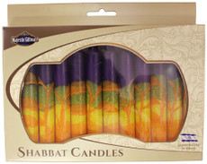 Safed Purple, Orange, Green and Yellow Harmony Shabbat Candles