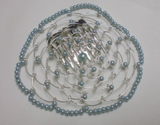 Light Blue Beaded Wire Head Covering