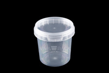 155ml Crystal Clear pot with resealable lid, Material: Polypropylene, Food friendly, tamper proof, 100% leak proof, Microwave, dishwasher and freezer safe.