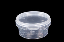 180ml Crystal Clear pot with resealable lid, Material: Polypropylene, Food friendly, tamper proof, 100% leak proof, Microwave, dishwasher and freezer safe.