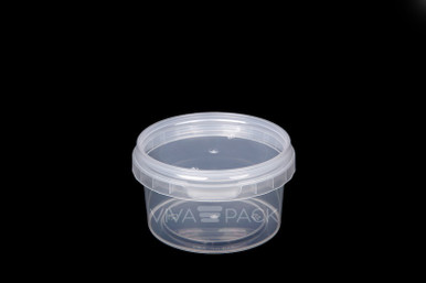 210ml Crystal Clear pot with resealable lid, Material: Polypropylene, Food friendly, tamper proof, 100% leak proof, Microwave, dishwasher and freezer safe.