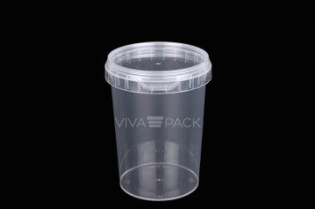 550ml Crystal Clear pot with resealable lid, Material: Polypropylene, Food friendly, tamper proof, 100% leak proof, Microwave, dishwasher and freezer safe.