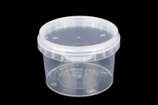 565ml Crystal Clear pot with resealable lid, Material: Polypropylene, Food friendly, tamper proof, 100% leak proof, Microwave, dishwasher and freezer safe.
