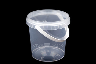 770ml Crystal Clear pot with resealable lid, Material: Polypropylene, Food friendly, tamper proof, 100% leak proof, Microwave, dishwasher and freezer safe.