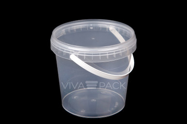 1000ml Crystal Clear pot with resealable lid, Material: Polypropylene, Food friendly, tamper proof, 100% leak proof, Microwave, dishwasher and freezer safe.