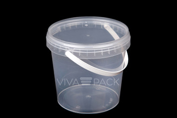 1180ml Crystal Clear pot with resealable lid, Material: Polypropylene, Food friendly, tamper proof, 100% leak proof, Microwave, dishwasher and freezer safe.