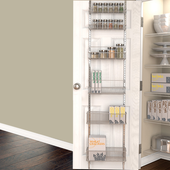 Platinum over door storage comes with 6 shelves. Has steel hooks for hanging organizer on & pantry organization | over the door organizer | door storage