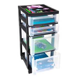 Features 2 shallow and 2 deep drawers with have 4 free-wheeling casters to make movement easy.