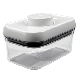 Implements a unique push-button mechanism which creates an airtight seal with one touch. Containers are clear for easy identification and stack-able with any other pop containers for efficient organization.  Small: 15.7 x 7.9 x 10.2 cm