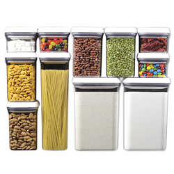 These containers are airtight, stackable and space efficient. Containers are clear for easy identification and stack-able for efficient organization. Available in 7 sizes.