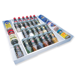 This spice rack can expand and sustains up to 36 spice bottles.