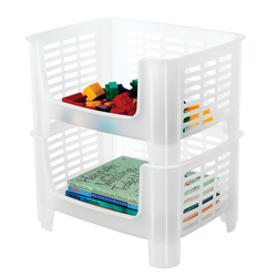 Stacking bins take up minimal space. Keeps items securely placed while being easily accessible.