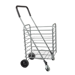 Weighing in at a mere 2 pounds, this unit is able to fold flat for easy storage. Steering is very easy as this cart features 4 gliding wheels; the front wheels rotate 360 degrees. The wheels also have a locking wheel brake to keep the cart from running away on you.