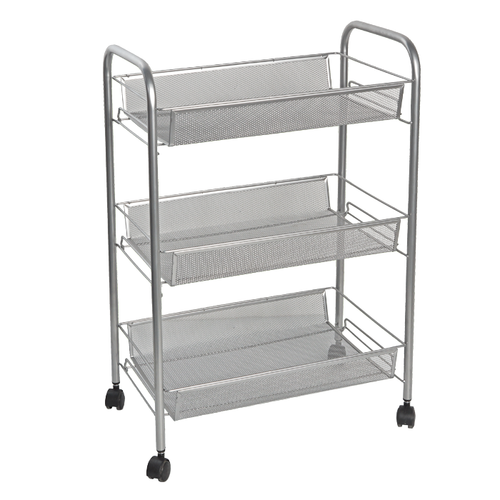 Features three wire mesh basket shelves and four smooth-gliding wheels.