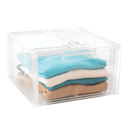 These acrylic drawers can slide and stack easily.