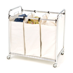 Keeps colours, whites and delicates separate thanks to the 3 bag laundry sorter. Each heavy duty canvas bag can hold one load of laundry and sits on a wire grid base to prevent the bags from sagging.  Convenient handles on each end of the cart facilitates easy movement of the lockable wheels.